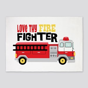 Love thy Fire Fighter 5'x7'Area Rug