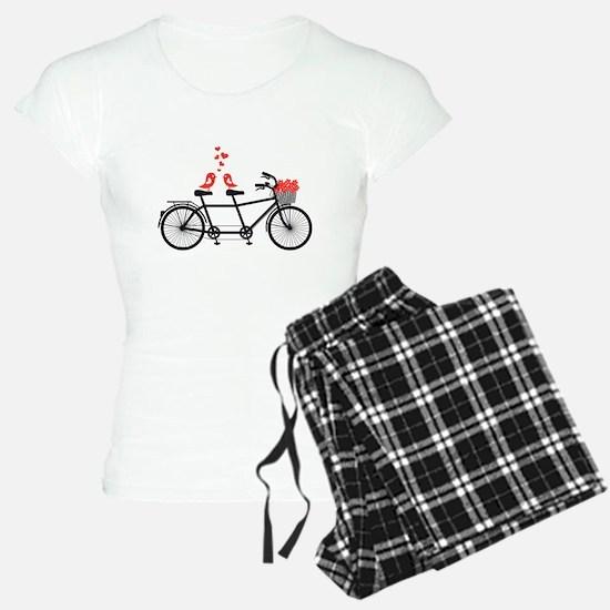 tandem bicycle with cute love birds Pajamas