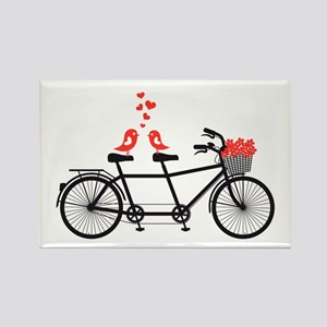 tandem bicycle with cute love birds Magnets