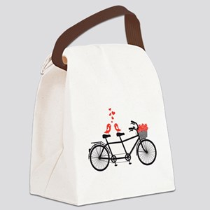tandem bicycle with cute love birds Canvas Lunch B