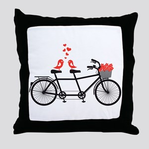 tandem bicycle with cute love birds Throw Pillow