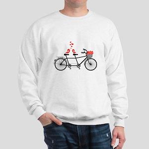 tandem bicycle with cute love birds Sweatshirt