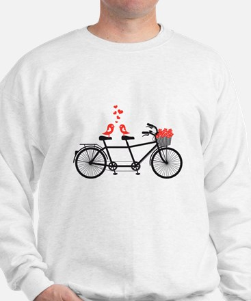 tandem bicycle with cute love birds Sweatshirt