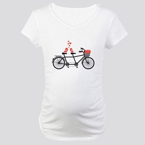 tandem bicycle with cute love birds Maternity T-Sh