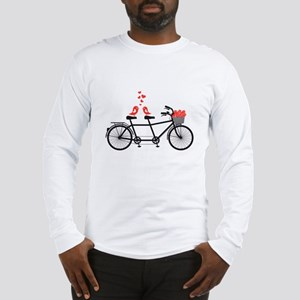 tandem bicycle with cute love birds Long Sleeve T-