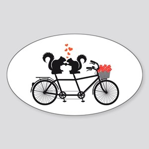 tandem bicycle with squirrels Sticker