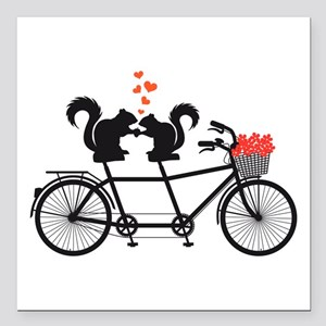 """tandem bicycle with squirrels Square Car Magnet 3"""""""