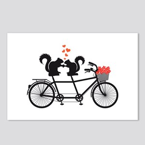 tandem bicycle with squirrels Postcards (Package o