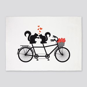 tandem bicycle with squirrels 5'x7'Area Rug