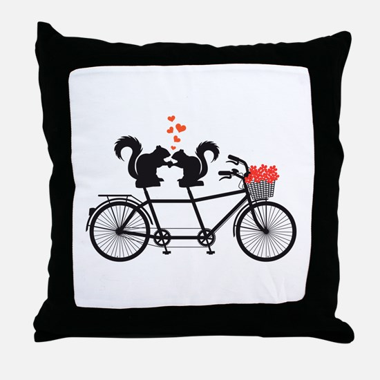 tandem bicycle with squirrels Throw Pillow