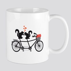 tandem bicycle with squirrels Mugs