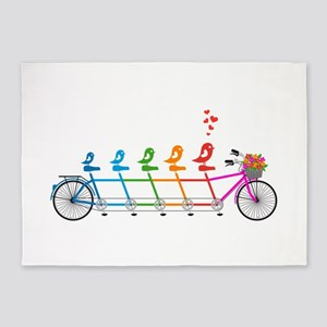 tandem bicycle with cute birds family 5'x7'Area Ru