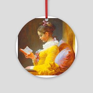 Fragonard Reading Girl Ornament (Round)