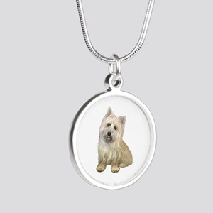 Cairn Terrier (#4B) Silver Round Necklace