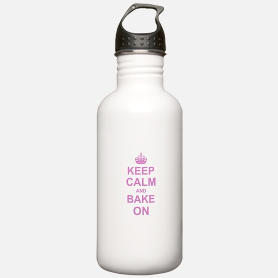Keep Calm and Bake on - Pink Sports Water Bottle