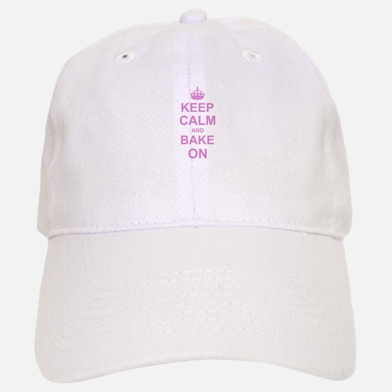 Keep Calm and Bake on - Pink Baseball Baseball Cap