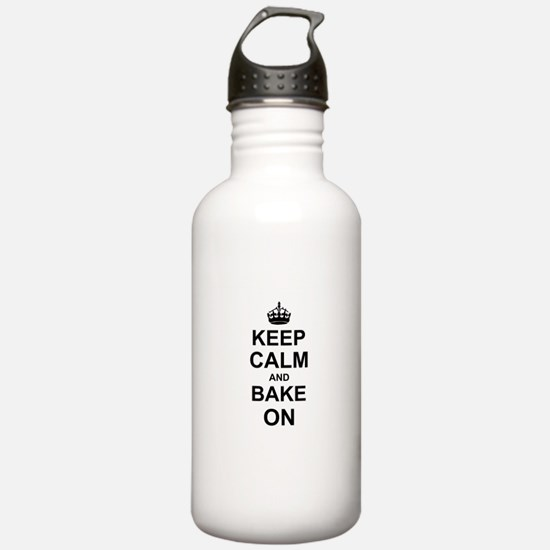 Keep Calm and Bake on - Black Sports Water Bottle