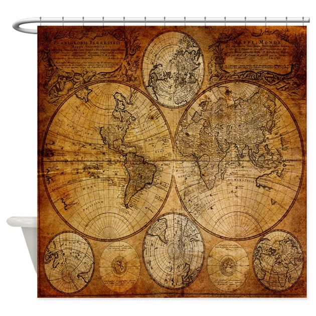 map shower curtain voyage compass vintage world map shower curtain by listing 13310