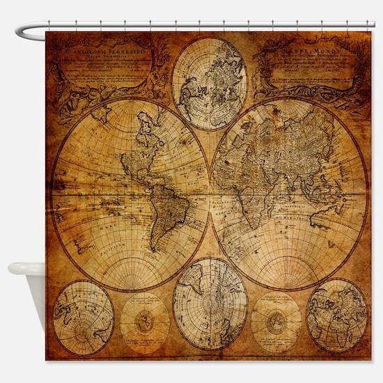 voyage compass vintage world map Shower Curtain