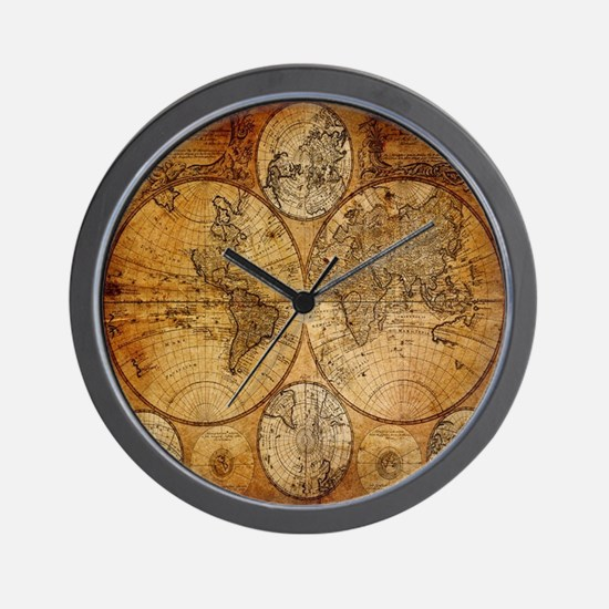 World map clocks world map wall clocks large modern kitchen voyage compass vintage world map wall clock gumiabroncs Image collections