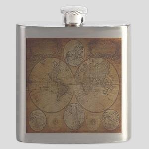 voyage compass vintage world map Flask