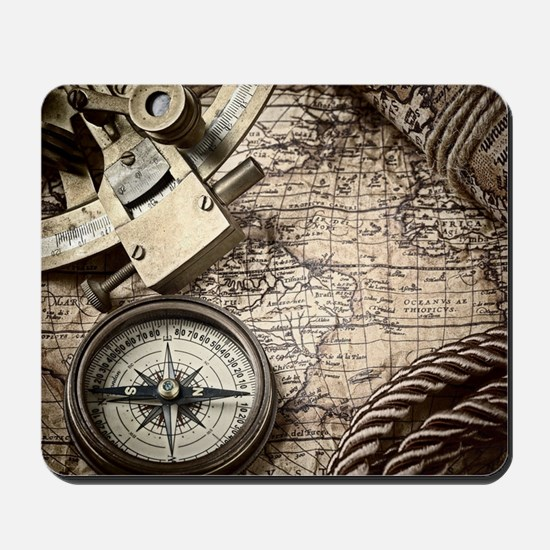 voyage tools compass vintage world map Mousepad