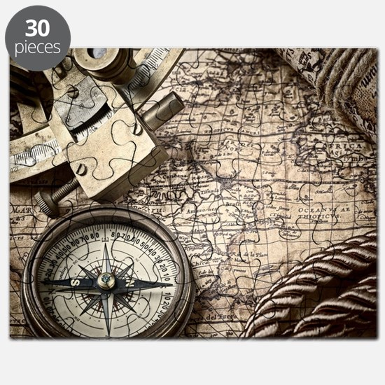voyage tools compass vintage world map Puzzle