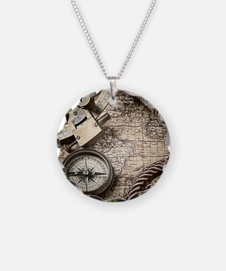 voyage tools compass vintage Necklace