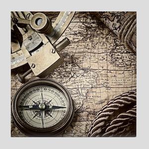 voyage tools compass vintage world ma Tile Coaster