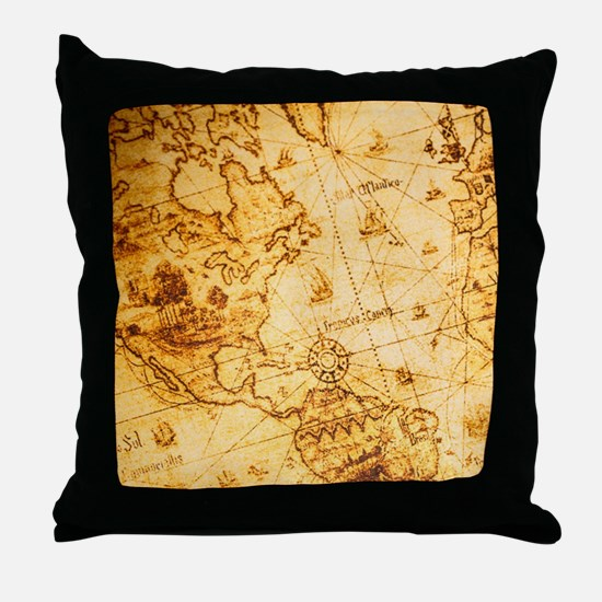 voyage ocean vintage world map Throw Pillow