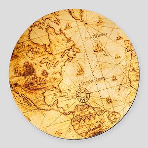 voyage ocean vintage world map Round Car Magnet