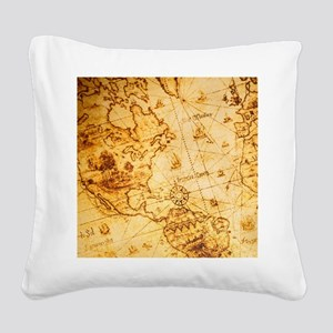 cool old fashion world map Square Canvas Pillow