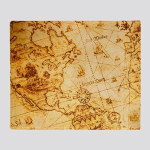 cool old fashion world map Throw Blanket