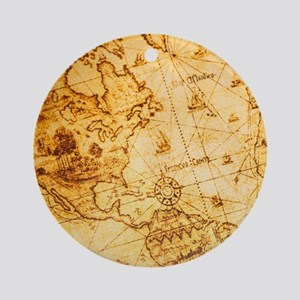 cool old fashion world map Round Ornament