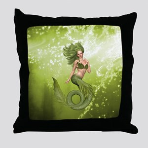 Green Mermaid Throw Pillow