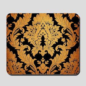 vintage pattern black gold damask Mousepad