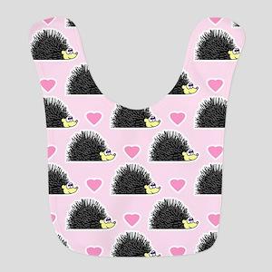 Cute Happy Hedgehog Love Pattern in Pink Bib