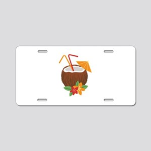 Tropical Coconut Drink Aluminum License Plate