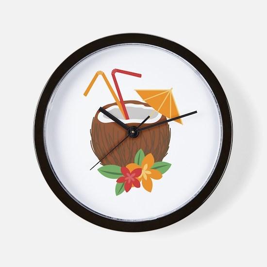 Tropical Coconut Drink Wall Clock