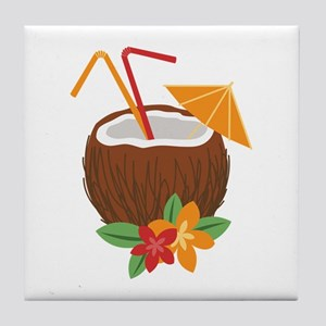 Tropical Coconut Drink Tile Coaster