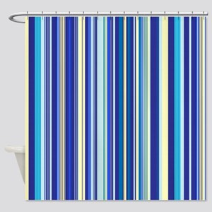 Blue And Yellow Stripes Shower Curtain