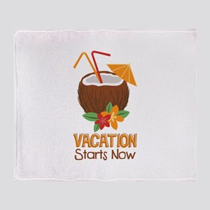 Vacation Starts Now Throw Blanket