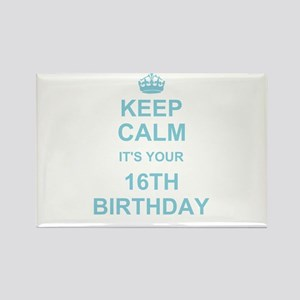 Keep Calm its your 16th Birthday - blue Magnets
