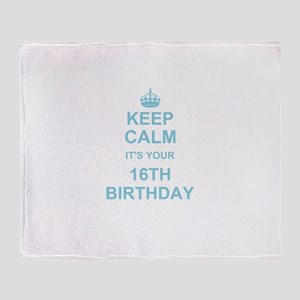 Keep Calm its your 16th Birthday - blue Throw Blan