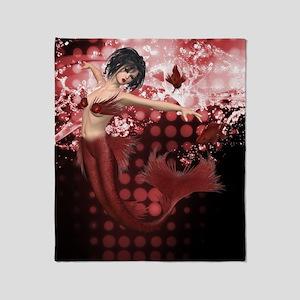 Red Mermaid Throw Blanket