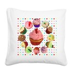 Loveheart Cupcakes Square Canvas Pillow