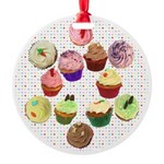 Loveheart Cupcakes Round Ornament