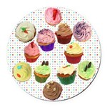 Loveheart Cupcakes Round Round Car Magnet