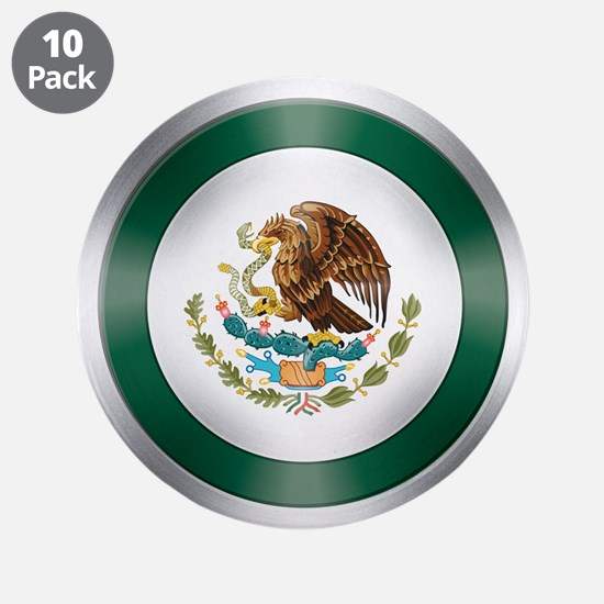 "Mexican Flag Shield 3.5"" Button (10 pack)"
