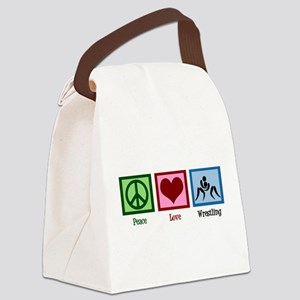 Peace Love Wrestling Canvas Lunch Bag
